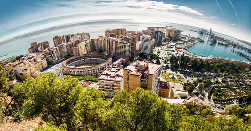 Panorama udsigt over Malaga